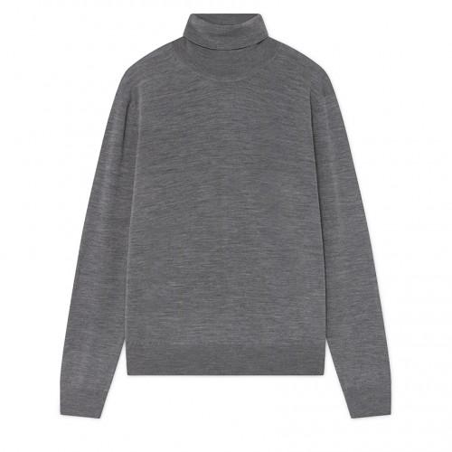 Maglione dolcevita Hackett in lana merino grigio